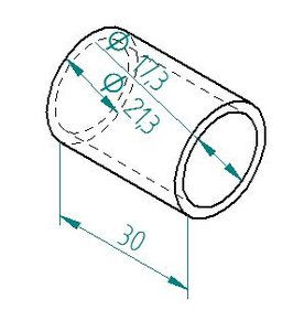 Spacer tube Ø21 h=30 for square shank VK12